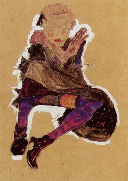 Egon-Schiele-Seated-Young-Girl